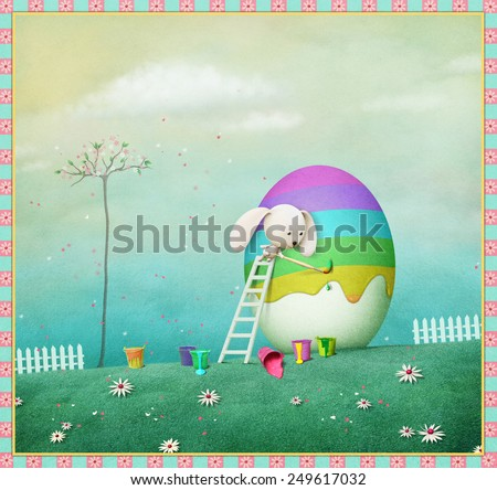 Greeting Easter card or illustration with bunny and egg rainbow - stock photo