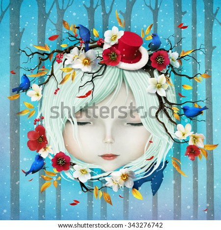 Greeting holiday card with Christmas and New Year with head of girl and flowers - stock photo