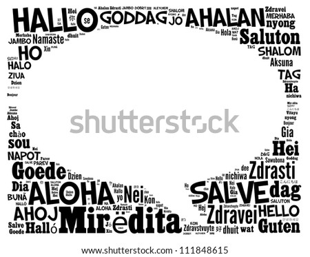 Greeting info-text graphics arrangement concept composed in bubble talk sign shape on white background