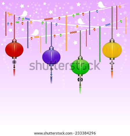 Greeting postcard to the Chinese New Year 2015. Lilac version. Rasterized illustration - stock photo