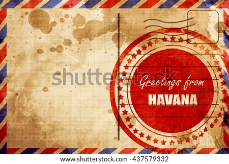 Greetings from havana, red grunge stamp on an airmail background - stock photo