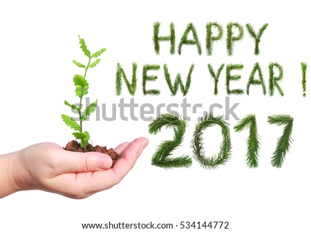Greetings Happy new year 2017. Letters and numbers are made of Christmas tree branches. Woman hand, holding a young green seedling. Objects isolated on white