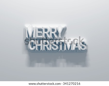 Greetings Merry Christmas. Composition of white letters on white background - stock photo