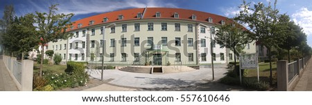 GREIFSWALD, GERMANY - SEP 09 2016 : Former Russian barracks which are nowadays listed monuments used by various organizations, e.g. the WVG, a residential building cooperative in Greifswald.