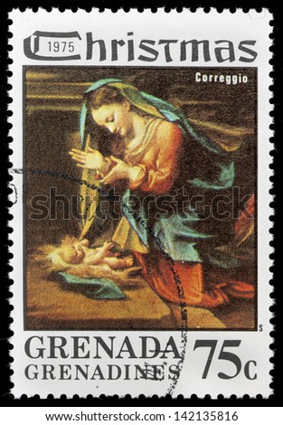 GRENADA - CIRCA 1975: A greeting Christmas stamp printed in Grenada shows paint Madonna and Child by Correggio; series, circa 1975
