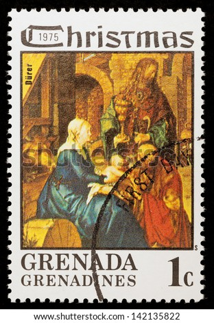 GRENADA - CIRCA 1975: A greeting Christmas stamp printed in Grenada shows paint Madonna and Child by Darer; series, circa 1975
