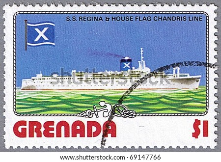 GRENADA - CIRCA 1976: A stamp printed in Grenada shows S.S. Regina and Chandris Line flag, series is devoted to ships, circa 1976 - stock photo