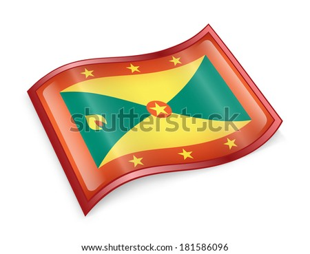 Grenada flag icon, isolated on white background - stock photo