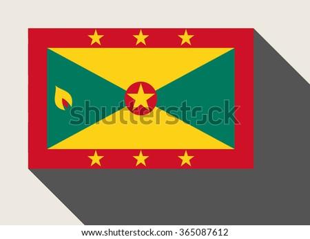 Grenada flag in flat web design style. - stock photo