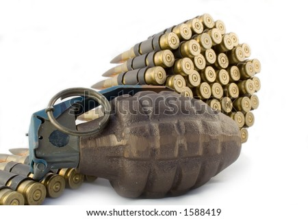 Grenade and Bullet Belt - stock photo