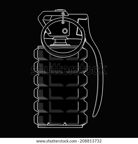 Grenade. black cartoon illustration outline. High resolution  - stock photo
