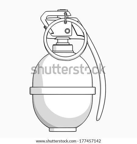Grenade.  cartoon illustration outline. High resolution  - stock photo