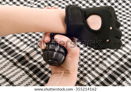 grenade in hand - stock photo