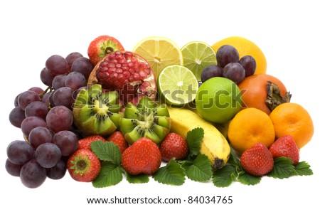 Grenades,  strawberry, kiwi, limes,  grapes, persimmon, banana, - stock photo