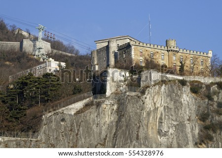 GRENOBLE, FRANCE, December 28, 2016 : The Bastille is an ancient series of fortifications on the mountainside overlooking Grenoble. It is one of the most visited tourist attractions in the city.