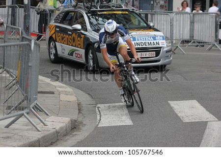 """GRENOBLE, FRANCE - JUN 3: Professional racing cyclist Bertjan Lindeman rides UCI WORLD TOUR """"CRITERIUM DU DAUPHINE LIBERE"""" time trial on June 3, 2012 in Grenoble, France. Luke Durbridge wins the stage - stock photo"""