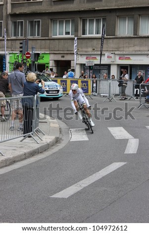 """GRENOBLE, FRANCE - JUN 3: Professional racing cyclist Tony Martinl rides UCI WORLD TOUR """"CRITERIUM DU DAUPHINE LIBERE""""  time trial on June 3, 2012 in Grenoble, France. Luke Durbridge wins the stage - stock photo"""