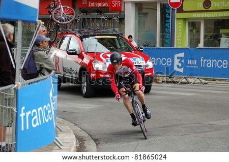 "GRENOBLE, FRANCE - JUNE 8: Professional racing cyclist Ben Hermans rides UCI WORLD TOUR "" CRITERIUM DU DAUPHINE LIBERE"" third stage time trial on June 8, 2011 in Grenoble city, Isere, France. - stock photo"