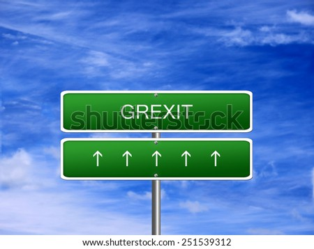 Grexit crisis euro currency Greece exit greek sign. - stock photo