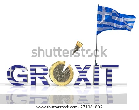 grexit greek exit - euro coin slice, greek flag - stock photo