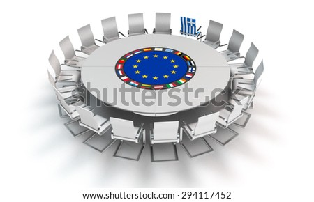 Grexit - symbolic image concerning the situation of greece and the european union - stock photo