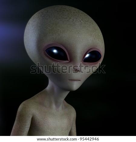 Grey alien - stock photo