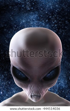 Grey alien with stars behind him, looking sinister 3d render illustration
