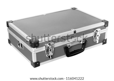 Grey aluminic case isolated on white background.