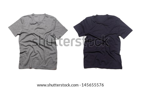 Grey and blue blank t-shirts isolated on a white background - stock photo