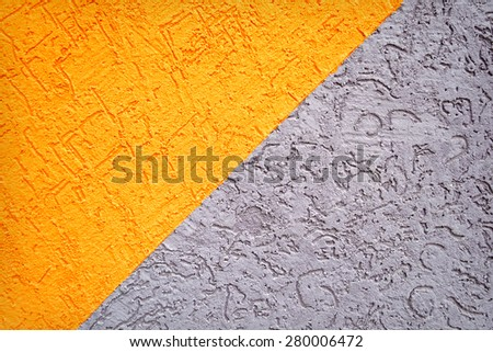 Grey and orange concrete dirty wall texture or background - stock photo