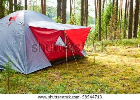 Grey and red camping tent in a sunny forest - stock photo