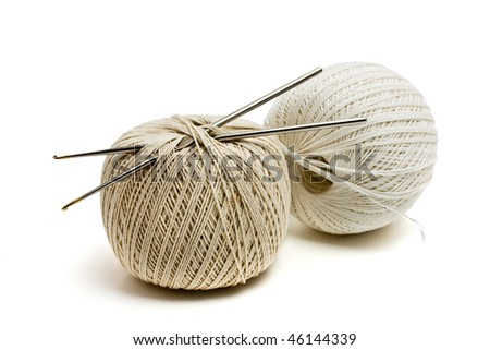 grey and white balls of wool - stock photo