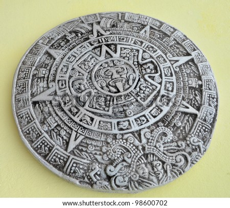 Grey and white traditional Maya calendar - stock photo
