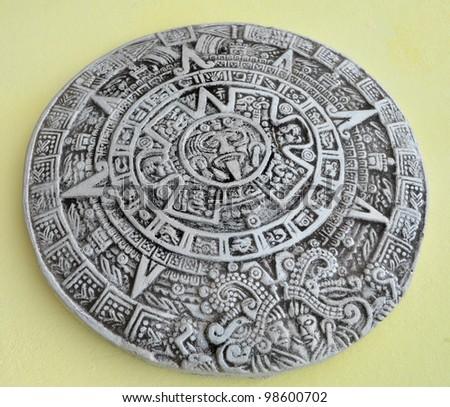 Grey and white traditional Maya calendar - stock photo