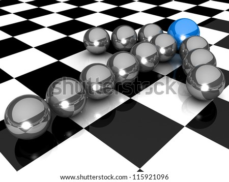 Grey arrow of the balls with the blue  leader in front. At an abstract checkered background. Business and Sports concept