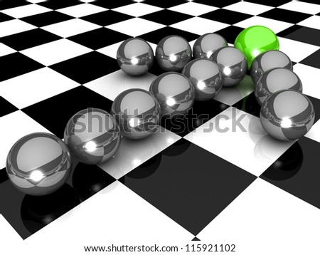Grey arrow of the balls with the green leader in front. At an abstract checkered background. Business and Sports concept