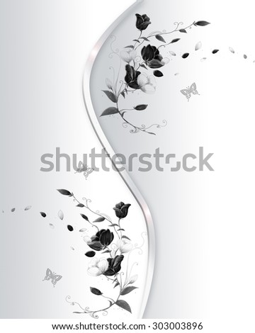 Grey background with black flowers and butterfly. - stock photo