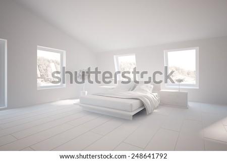 grey bedroom design for house-3D rendering - stock photo
