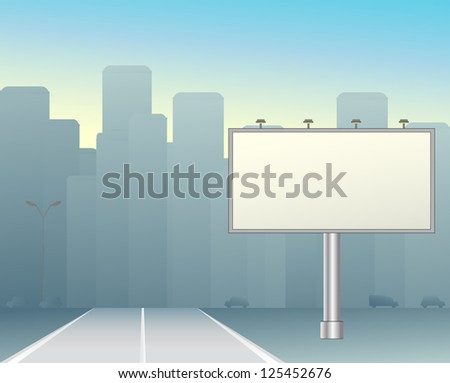 grey big board in the morning city - stock photo