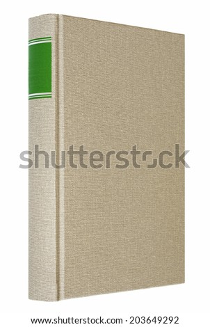 Grey book isolated on white, green frame for title on the spine  - stock photo
