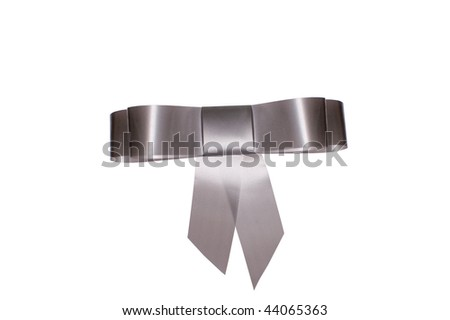 grey bow for gift - stock photo