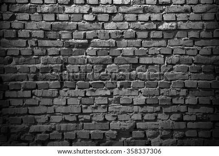 Grey brick wall. grunge background - stock photo