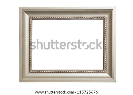 grey classic picture frame isolated on white - stock photo