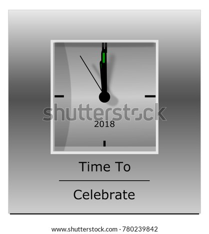 Grey Clock with time 10 second before midnight and text Time to celebrate