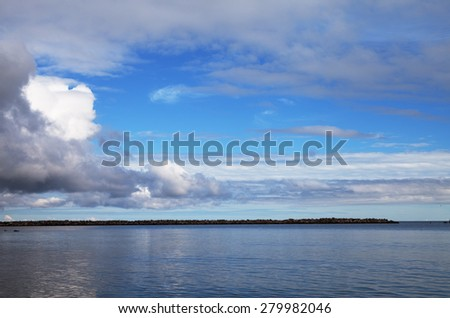 Grey clouds above Baltic sea.