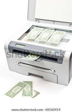 Grey computer laser printer and dollars isolated on white background