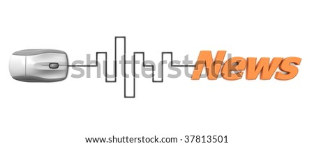 grey computer mouse connected to the orange word News via digital waveform cable - stock photo