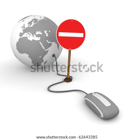 grey computer mouse is connected to a grey globe - surfing and browsing is blocked by a red  do not enter sign that cuts the cable - stock photo