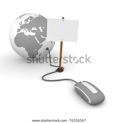 grey computer mouse is connected to a grey globe - surfing and browsing is blocked by a white rectangular sign that cuts the cable - empty template - stock photo