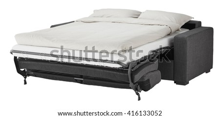 Grey couch bed isolated on white include clipping path - stock photo
